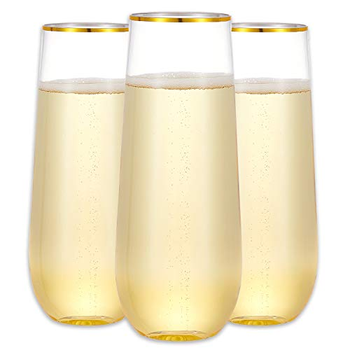 N9R 12 Pack Plastic Champagne Flutes, 9 Oz Stemless Disposable Gold Rim Toasting Glasses, Crystal Clear Cocktail Cups Drinkware Shatterproof Ideal for Party Wedding Birthday