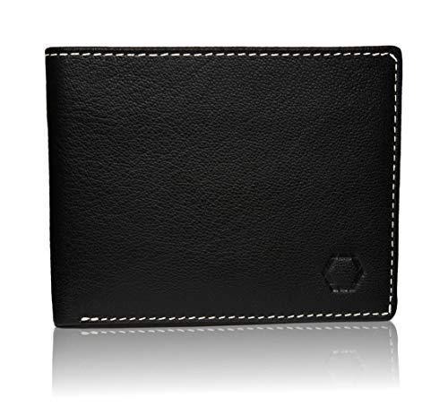 Schwarz Stein RFID Herren Geldbörse aus echtem Büffel-Leder - stilvoller & sicherer Männer Geldbeutel Dank Diebstahlschutz (Schwarz)