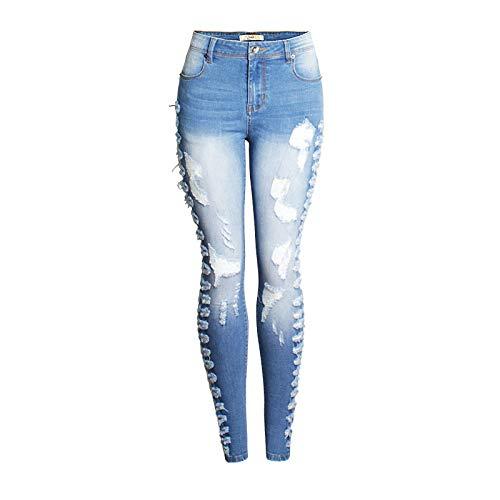 Fainash Pantalones Vaqueros Ajustados para Mujer, Moda con Agujeros Rasgados, Ropa de Calle elástica Sexi, Tendencia, Pantalones de Mezclilla Lavados deshilachados, Europa y América XXL