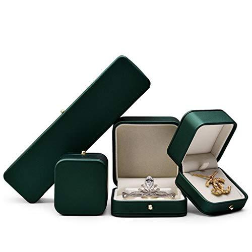 LessLIFE Caja de almacenamiento de joyas, hermosa caja de anillo verde negruzco premium anillo de cuero caja portador para boda, caja Pro-Pendant