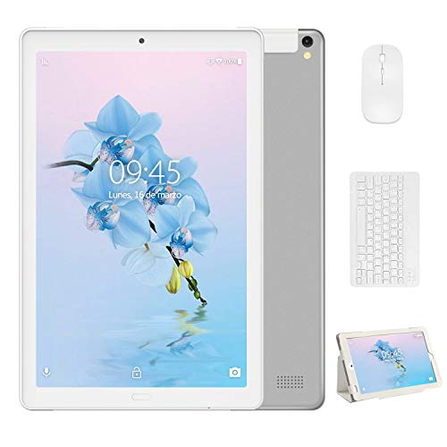 4G Tablet 10 Pulgadas YESTEL X2, 3GB+32GB, Android 8.1, Tableta con Mouse y Teclado, 4 Core, 8000mAh, 1280X800 HD IPS, Soporte WiFi/Dobles SIM, FM, Plata