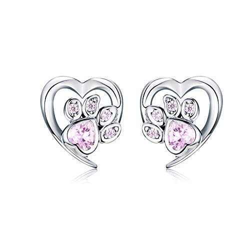 Pendientes de botón de corazón con huella de perro de plata de ley 925 para mujer, pendientes...