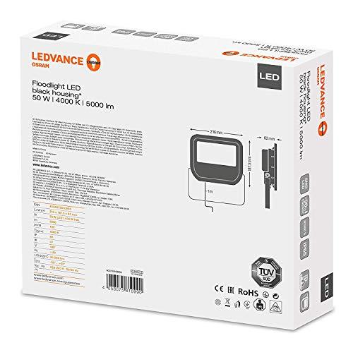 Ledvance 4058075810990 LUMINAIRES 50,00W-Blanc Froid 4000K Couleur Noir, Plastique, 50 W