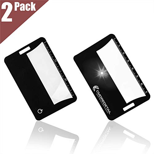 2 Credit Card Size Fresnel Lens 3x Lighted Magnifiers, Ideal...