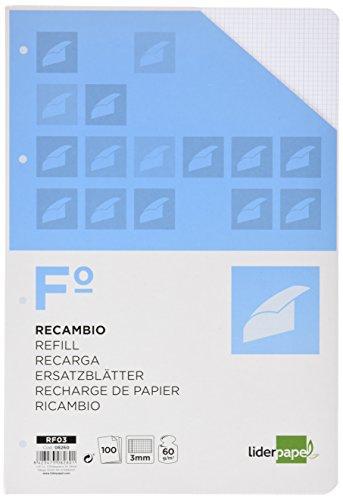 RECAMBIO LIDERPAPEL FOLIO 100 H 4TF-06 CUADRO 3 MM 4 TALADROS CON MARGEN