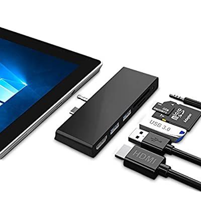 Microsoft Surface Go Dock for Surface Go/Go 2, 6 in 2 Docking station Hub with 4K HDMI, 3*USB3.0 Ports, SD/TF Card Reader Slot and Audio Interface for Surface Go/Go 2