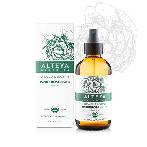 Alteya Organic Eau de rose blanche bulgare 240 ml Spray Bioglass - Certifiée 100% organique USDA, pure, naturelle, Eau florale distillée, Vendue directement par le producteur et le distillateur