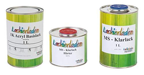 Lackierladen Autolack 2,5 Liter Set MS Klarlack Härter Wunschfarbe spritzfertig Audi LY9C / T9 Ibisweiss