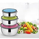 Tiamu Bol con Tapa, 3 Bol de Acero Inoxidable Ensaladera, caja de almacenamiento de frescura sellada, tamaño 12-14-16 cm, ideal para mezclar y servir