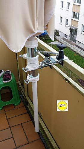 STABIELO 5530-25420BK1 Parasol – Support de balcon – Rotation à 360° – 2 x supports en acier inoxydable jusqu'à 40 mm de diamètre – Pour mâts de parasol de 25,5 mm à 42 mm de diamètre.