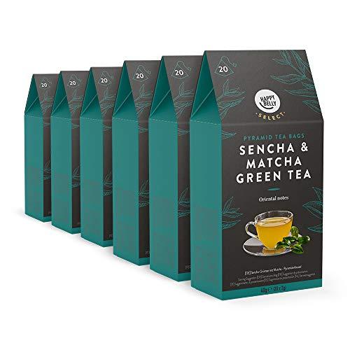 Marca Amazon – Happy Belly Select Bolsitas de té verde sencha y matcha, 6x20pirámides