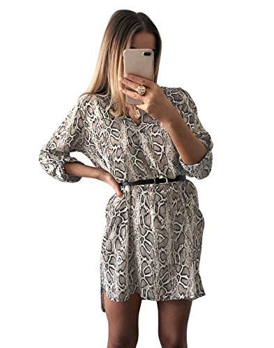 JLTPH Mujeres Vestidos con Cuello en V Camisa Vestido de Manga Larga Estampado de Leopardo de Serpiente Vestido Vestidos Cortos Sin Cinturón Camiseta Casual Tops Blusa