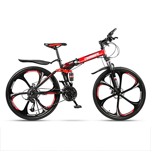 24' Full Suspension Folding Mountain Bike 30 Speed Bicycle Men or Women MTB Foldable Frame,Shimano Rear derailleur,Folding Mountain Bikes for Adults and Students,Red