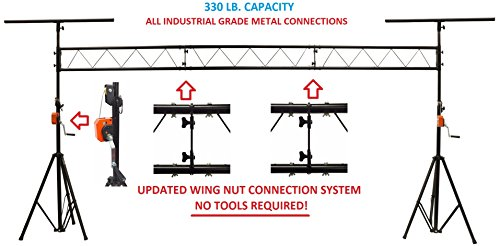 15' Crank Up DJ Light Stand Heavy Duty Truss LED Lighting System 11.6' Height New Advanced Wing Nut Connection System