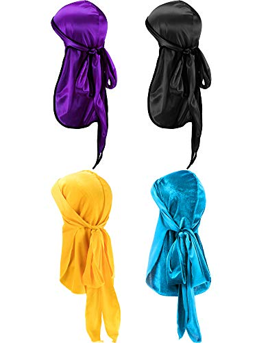 Tatuo 2 Pieces Velvet Durag and 2 Pieces Silky Soft Durag Cap Headwraps with Long Tail and Wide Straps for 360 Waves (Purple, Black, Yellow, Light Blue)