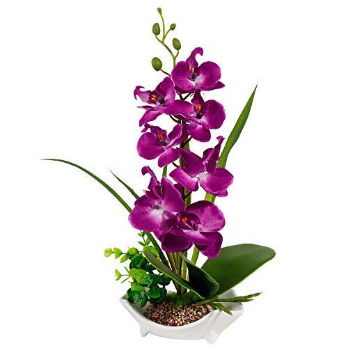 Künstliche Orchidee Blume Zimmerpflanzen Orchidee Blumen mit Porzellanvase Töpfen lila Orchideen künstliche Pflanzen gefälschte Seide Blume Bonsai Dekoration Esstisch Mittelstück Badezimmer Ornament