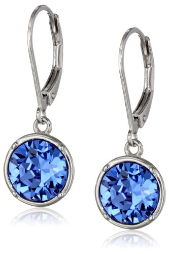 Sterling Silver Sapphire Blue Round Leverback Dangle Earrings Made with Swarovski Crystal