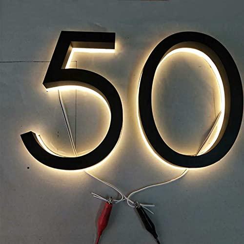 mrjg Luces de la Letra de la casa de la casa del Canal LED de Acero Inoxidable 3D Personalizado (Color : Black SS W LED, Height : 8in (20cm))
