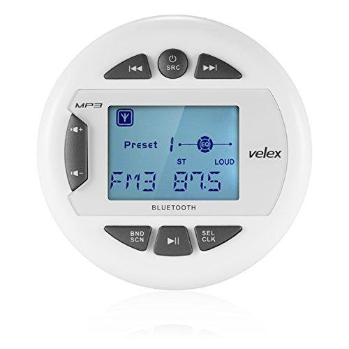 Velex Reproductor multimedia resistente al agua, receptor, con transmisión de audio, pantalla positiva de 2.4 pulgadas