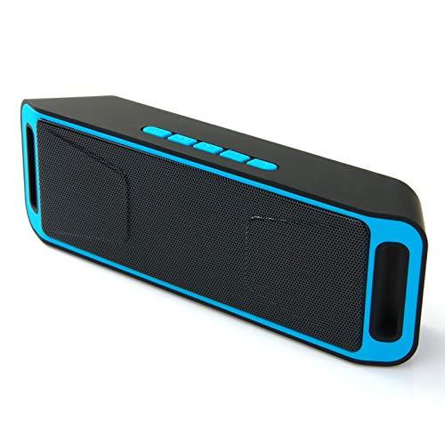 JUNPE Altavoz Bluetooth Altavoces estéreo inalámbrico USB Cargando Mini Coche Dual-Horn Bajo Pistola Bluetooth Multifuncional (Color : Blue)