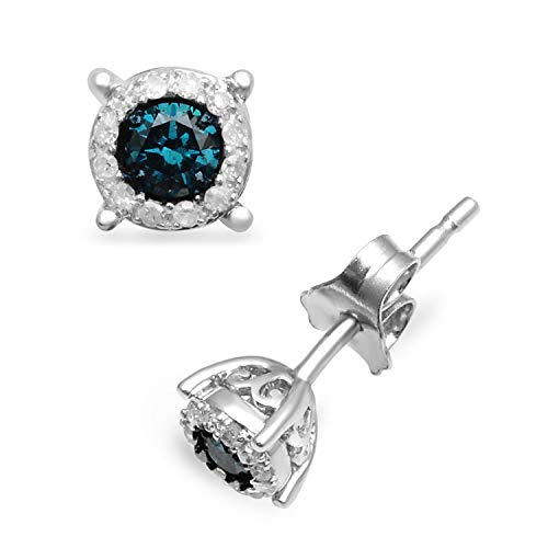 Jewelili Sterling Silver Blue and White Diamond Round Stud Earrings 1/4cttw…