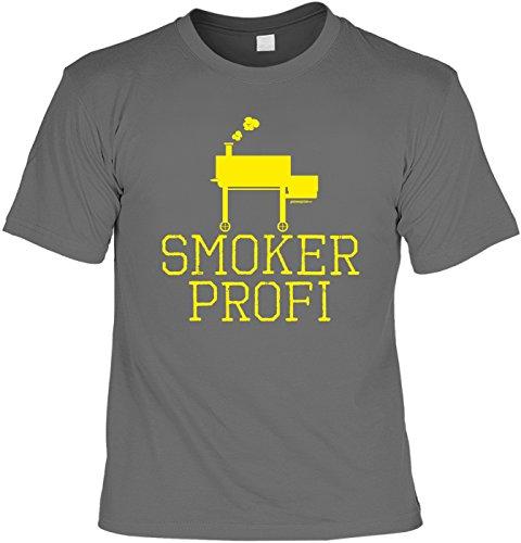 Bequemes Herren Shirt mit Grill Motiv: Smoker Profi - Geschenk zur Grillparty, grillen, Grillsaison - Farbe: anthrazit