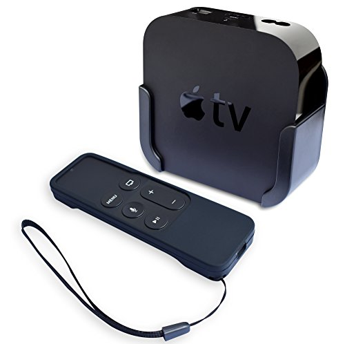 Homedge Apple TV Mount, supporto da parete staffa di supporto per Apple TV a e 4 K con silicone Siri telecomando della custodia