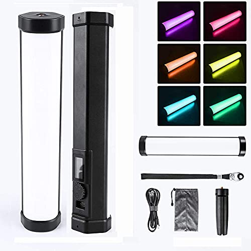 Andoer LED Videoleuchte Dimmbar Handheld Fotografie Licht Lichtstab RGB 2800K-8500K CRI95 TLCI97 15 Videoeffekte,mit Stativ Tragetasche 3000mAh Wiederaufladbarer Batterie 1/4 Schnittstelle