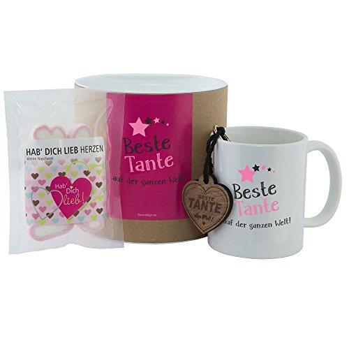 4you Design Geschenkset Beste Tante auf der ganzen Welt (Tasse, Schlüsselanhänger & Hab Dich lieb Herzen) Geburtstagsgeschenk für Tante Familie - Geschenkidee