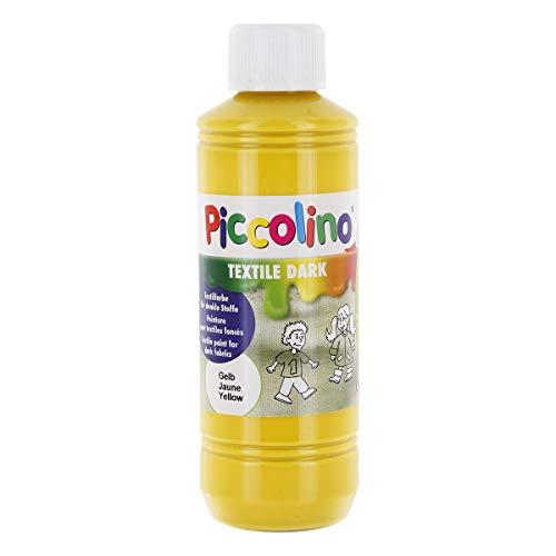 Piccolino Textilfarbe für dunkle Stoffe, Gelb 250ml - Stoffmalfarbe hochdeckend