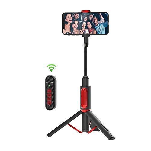 BlitzWolf Palo Selfie Trípode, Selfie Stick Extensible de Aluminio con Control Remoto Bluetooth para Ajustar Enfoque y Cambiar Cámara Delantera y Trasera(No es Compatible con iOS 13.4 ni Arriba)