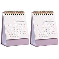 KESYOO 卓上カレンダー2021卓上型スタンディングフリップマンスリーカレンダーミニコイルカレンダーイヤーカレンダーオーガナイザーページ、デイリースケジューラーホームオフィス用(ピンク)