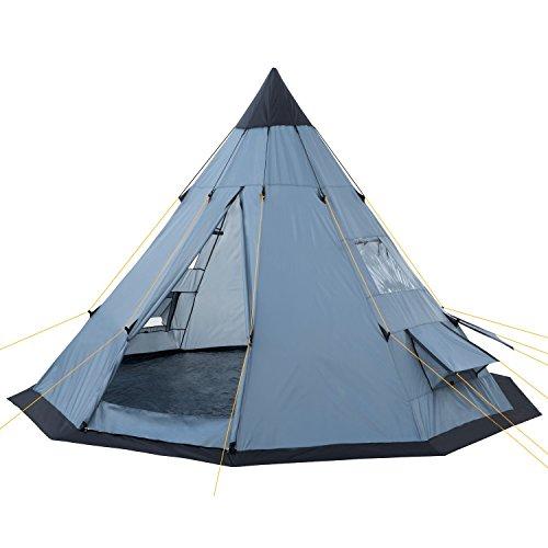 CampFeuer Tienda de Campaña Tipi para Adultos Spirit I 4 Personas I Columna de Agua de 3.000 mm I Ligera (Azul Claro y Negro)