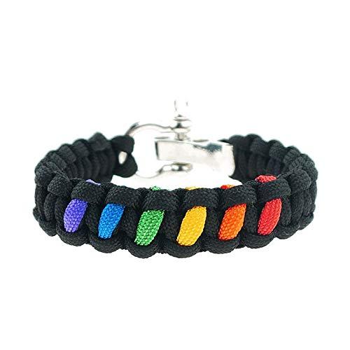incoous Adjustable Rainbow LGBT Pride Bracelet Paracord Rope Emergency Survival Cord Bracelets for Women Men Couples Gay Lesbian Friendship Gifts Wristband (Balck)