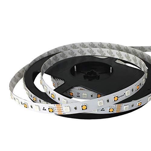 iluminize LED-Streifen RGB+W: sehr hochwertiger LED-Streifen RGB+W (2700K Ra 95) mit 60 LEDs pro Meter, hoch selektiert, 24V, 16,5W pro Meter (IP33 Rolle 5m)