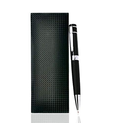 Giabo® Mokuzai │luxus Kugelschreiber in schwarz│Hochwertiger Kugelschreiber mit einer Mischung aus 202 Edelstahl/Kupfer│Griffbereich aus PU-Leder für einen angenehmen halt