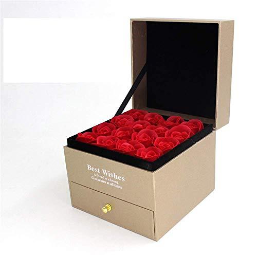kaige Conservé Frais Fleur Immortelle Petit Boîte à Bijoux boîte-Cadeau Parfum Rose Savon de Bain Bijoux Haut de Gamme boîte-Cadeau Boîte de Rangement Fleurs à la Main Rose (Couleur: Gris) WKY