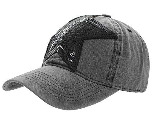 dy_mode Damen Kappe Basecap Baseball Cap Mütze Schirmmütze mit Pailletten Stern - K100 (K100-Dunkelgrau)