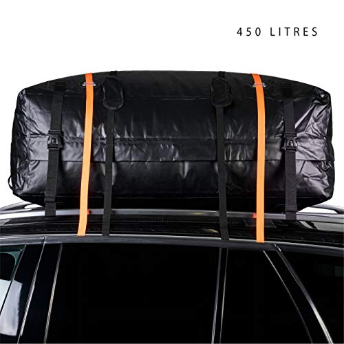Heavy Duty Car Roof Cargo Carrier Bag, 450 Litres - Waterproof & Durable - Vehicle Luggage Travel Storage Box Carrier - Includes Non-Slip Protector Mat & Straps.