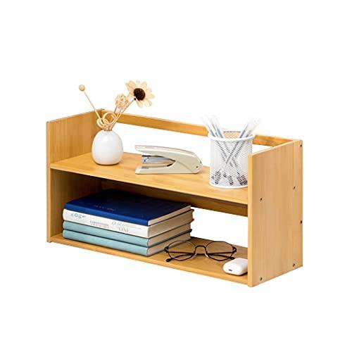 Armarios y estantería Bookshelf Bamboo Storage Rack Desktop Pequeño Librería Archivo Revista Rack CD Estantería de bastidor de dos pisos pequeña estantería 9.84 pulgadas de alto Estante de almacenamie