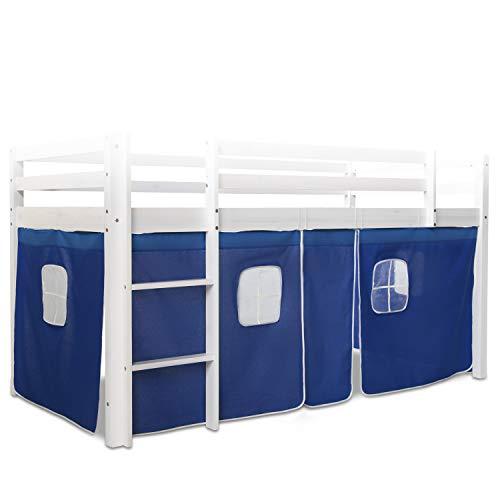 Homestyle4u 1518, Bettumrandung Bettvorhang für Hochbett, Vorhang Stoff Baumwolle, Blau