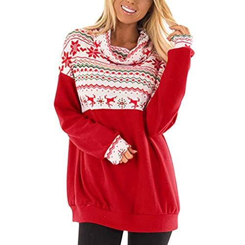 Andouy Damen Lustige Bedruckte Tops Übergröße Gugel Hals Sweatshirt für Weihnachten Party(XL.Rot)