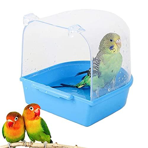 DEYUCHANG Jaula de pájaro Baño Bañera Bañera de baño Parrot Caja de Ducha Caja de bañera Recipiente para Pequeño Periquito Medium Limpieza Suministros (Color : Bird Cage Bath)