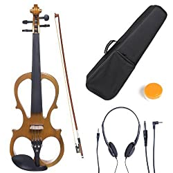 professional Cecilio CEVN-1Y Style 1 Quiet electric violin made of solid wood with metallic yellow ebony fittings.