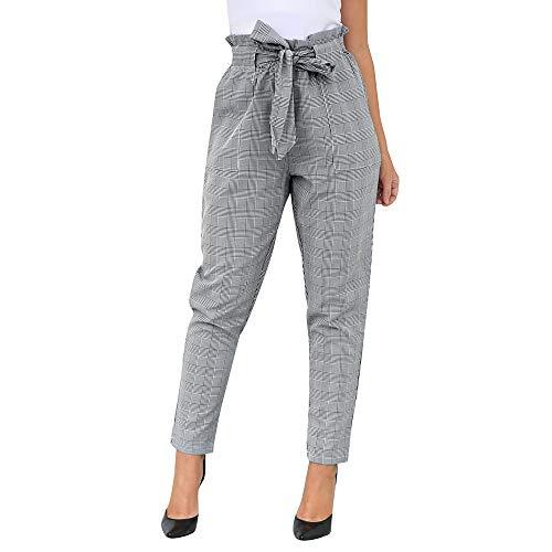 Lenfesh Pantalones Largos a Cuadros con Lazo para Mujer,Pantalones Casual de Cintura Alta de Mujer