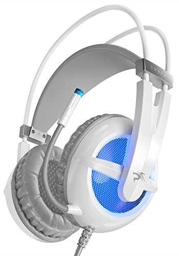 Sentey Gaming Headset Microphone Orbeat White Gs-4440 Audiophile Level Stereo Headphones for PC, MAC and All Analog 3.5m Devices, USB2.0 (Power LED Lights only) + 2 X 3.5mm Plugs (Mic and Sound)