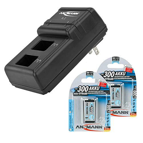 ANSMANN 9V battery charger Powerline 2 for 1-2 NiMH / NiCd rechargeable batteries 9 Volt - 2 bay Individual cell recharger for rechargeable 9V batteries + 2-Pack 300mAh 9V batteries