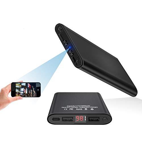 Cámara Espía Oculta Mini DV - HD 4K 1080P WiFi Visión Nocturna Detección de Movimiento Luz LED Inteligente Pantalla Digital PowerBank Cámara Secreta Compacta