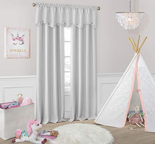 Elrene Home Fashions Adelaide Nursery and Kids Blackout Rod Pocket Window Curtain Panel, 52