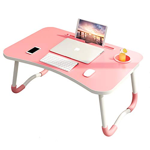 Laptop Bed Table, Breakfast Tray with Foldable Legs, Portable Lap Standing Desk, Notebook Stand Reading Holder for Couch Sofa Floor Kids Dazzlecolorpowder+cardslot+cupholder